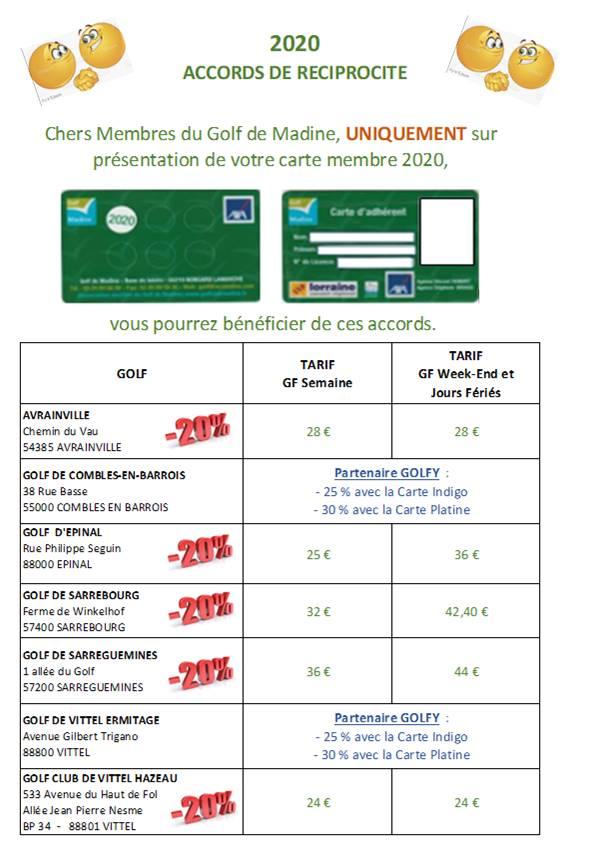 Tarifs green fees: accords de réciprocité